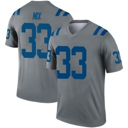 Nike Roosevelt Nix Indianapolis Colts Youth Legend Gray Inverted Jersey